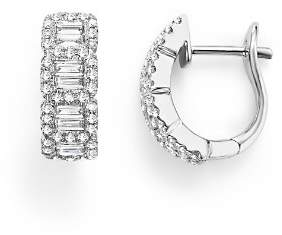 Bloomingdale's Round and Baguette Diamond Huggie Earrings in 14K White Gold, .75 ct. t.w. - 100% Exclusive