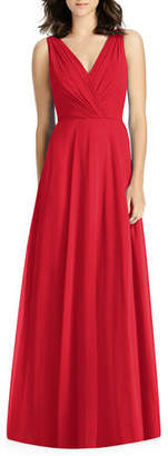 Jenny Packham V-Neck Sleeveless A-Line Lux Chiffon Bridesmaid Gown