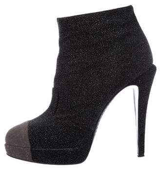 Chanel Suede Cap-Toe Boots Black Suede Cap-Toe Boots