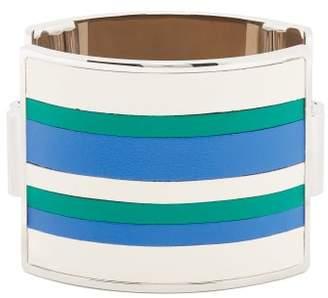Marni Striped Leather Cuff - Womens - Blue