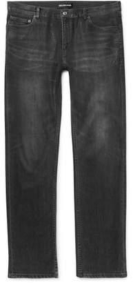 Balenciaga Slim-Fit Coated Stretch-Denim Jeans - Men - Black