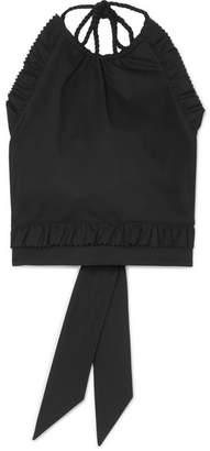 RED Valentino Cropped Ruffled Cotton-blend Poplin Halterneck Top - Black