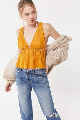 Urban Outfitters Lissy Velvet Plunging Babydoll Cami