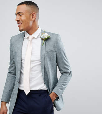 Asos Design Tall Wedding Skinny Blazer In Dark Green Cross Hatch Nepp