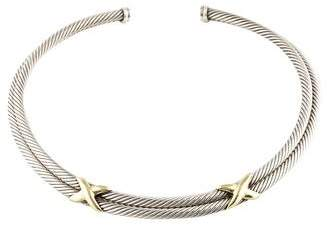 David Yurman Two-Tone Double X Cable Collar Necklace