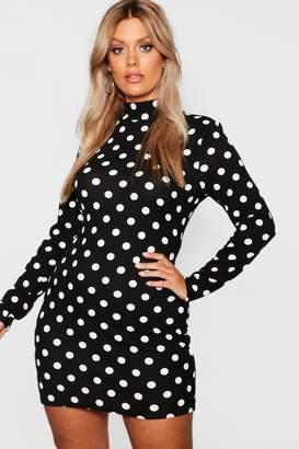 boohoo Plus High Neck Long Sleeve Spot Mini Dress
