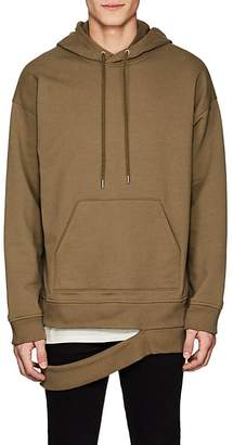 Helmut Lang Men's Hanging-Hem Cotton-Blend Terry Hoodie
