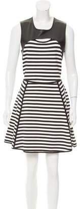 Yigal Azrouel Cut25 by Leather-Trimmed Striped Dress w/ Tags