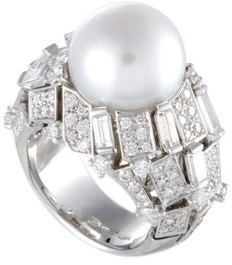 Mikimoto 18K 2.90 Ct. Tw. Diamond & 13-14Mm Pearl Ring
