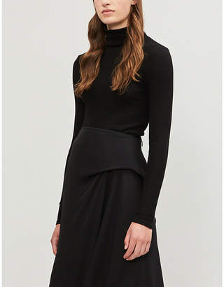 Theory Cotton and cashmere-blend turtleneck top