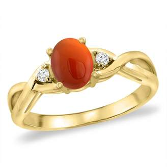 Sabrina Silver 14K Yellow Gold Diamond Natural Brown Agate Infinity Engagement Ring Oval 7x5 mm, size 7