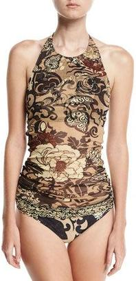 Fuzzi Vintage Floral Two-Piece Tankini Swimsuit Set $395 thestylecure.com