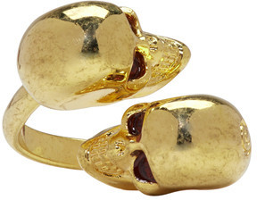 Alexander McQueen Gold Twin Skull Ring $195 thestylecure.com