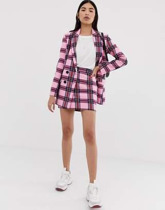 Asos Design DESIGN strawberry check suit mini skirt