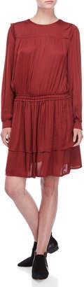 Scotch & Soda Satin Drop Waist Long Sleeve Dress