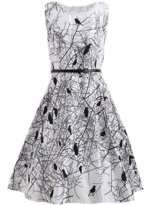 SWPS Women Bird Retro Dress Belt Summer Sleeveless Robe Party Dress