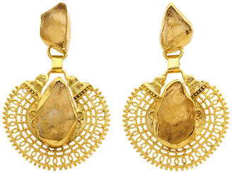 Gold Plate Drop Earrings with Citrine Centre