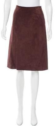 Valentino Knee-Length Suede Skirt