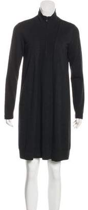 Akris Punto Wool Long Sleeve Mini Dress
