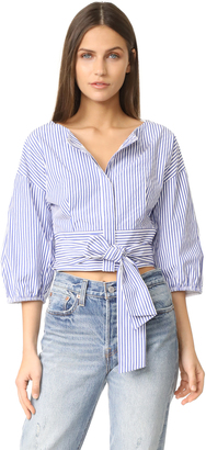 J.O.A. Puff Sleeve Stripe Blouse $73 thestylecure.com