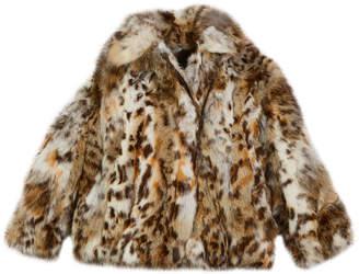 Adrienne Landau Lynx-Pattern Fur Jacket, Size 2T-12Y