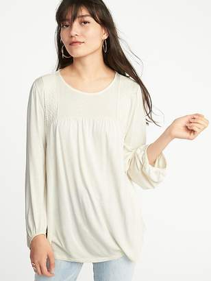 Old Navy Crochet-Lace Balloon-Sleeve Jersey Top for Women