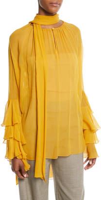 Prabal Gurung Tie-Neck Tiered-Sleeve Silk Georgette Blouse