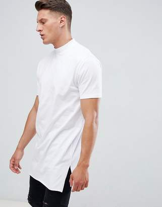 Asos DESIGN relaxed fit super longline t-shirt with side splits and turtleneck in white