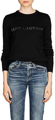 Saint Laurent Women's Embellished Logo Wool Sweater - Black