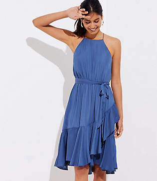 LOFT Ruffle Tie Waist Halter Dress