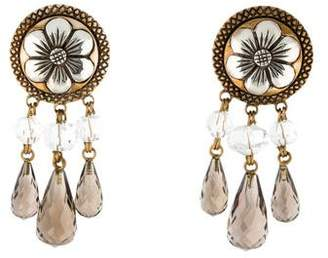 Stephen Dweck Quartz Two-Tone Floral Clip-On Earrings