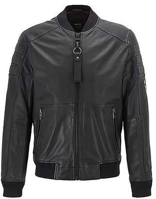 Slim-fit leather jacket with hand-applied wax treatment