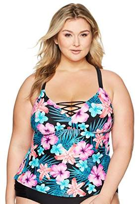 Coastal Blue Women's Plus Size Swimwear Lace up Front Tankini Top