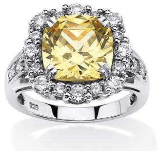 PalmBeach Jewelry Palm Beach Jewelry 3.62 TCW Cushion-Cut Canary Cubic Zirconia Halo Ring Set in Platinum Over .925 Sterling Silver