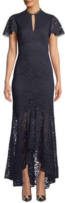 Shoshanna Aimi High-Low Floral Lace Gown