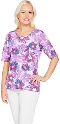 Denim & Co. Printed Scoop Neck Elbow Sleeve Top