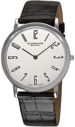 Stuhrling Original Sthrling Original Mens White Dial Alligator-Look Black Leather Strap Watch