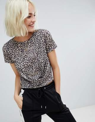 Pull&Bear print twist front t-shirt in leopard
