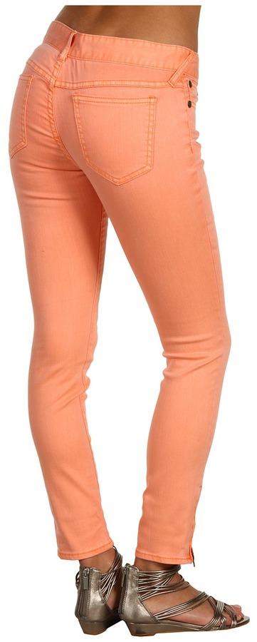 Free People Colored Skinny Crop Jean Pastels in Apricot (Apricot) - Apparel