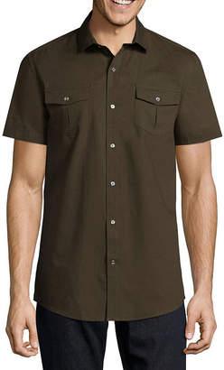 Claiborne Short Sleeve Texture Button-Front Shirt