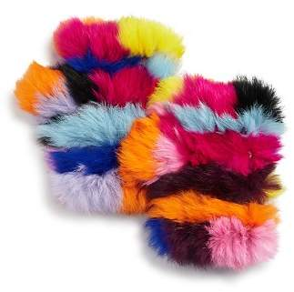 Jocelyn Knit Rabbit Fur Fingerless Gloves
