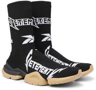 Vetements + Reebok Sock Pump Logo-Jacquard Stretch-Knit Sneakers
