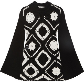 McQ Alexander McQueen - Crocheted Wool And Cotton-blend Mini Dress - Black $695 thestylecure.com