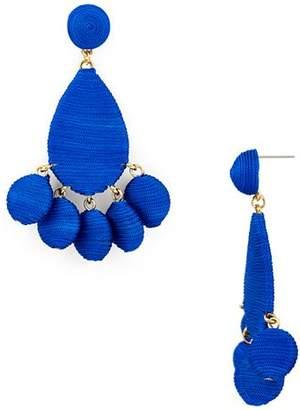 Aqua Fabric Wrapped Drop Earrings - 100% Exclusive