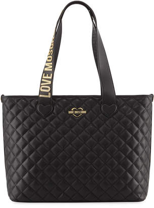 Love Moschino Quilted Logo-Strap Shoulder Tote Bag