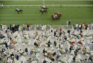 "Jonathan Adler Slim Aarons ""Racing at Baden Baden"" Photograph"