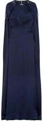 Celine Safiyaa Embellished Hammered Silk-satin Gown - Midnight blue