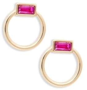 Ava & Aiden Small Goldtone Pink Glass Stone Hoops