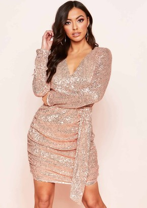 aa43a345 Missy Empire Missyempire Rosalyn Rose Gold Sequin Ruched Detail Dress