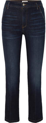 Frame Le Slender High-rise Straight-leg Jeans - Dark denim